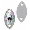 Preciosa Sew-on Mc Navette 2Ho 12x6mm Crystal Aurora Borealis